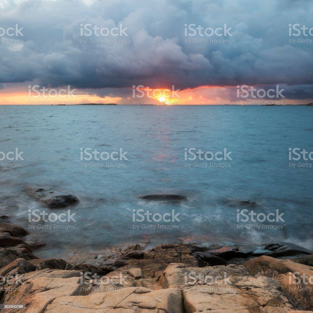 Kattegatt sea sunset stock photo