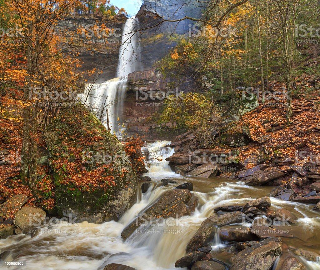 Katterskill Falls Autumn Panorama HDR stock photo