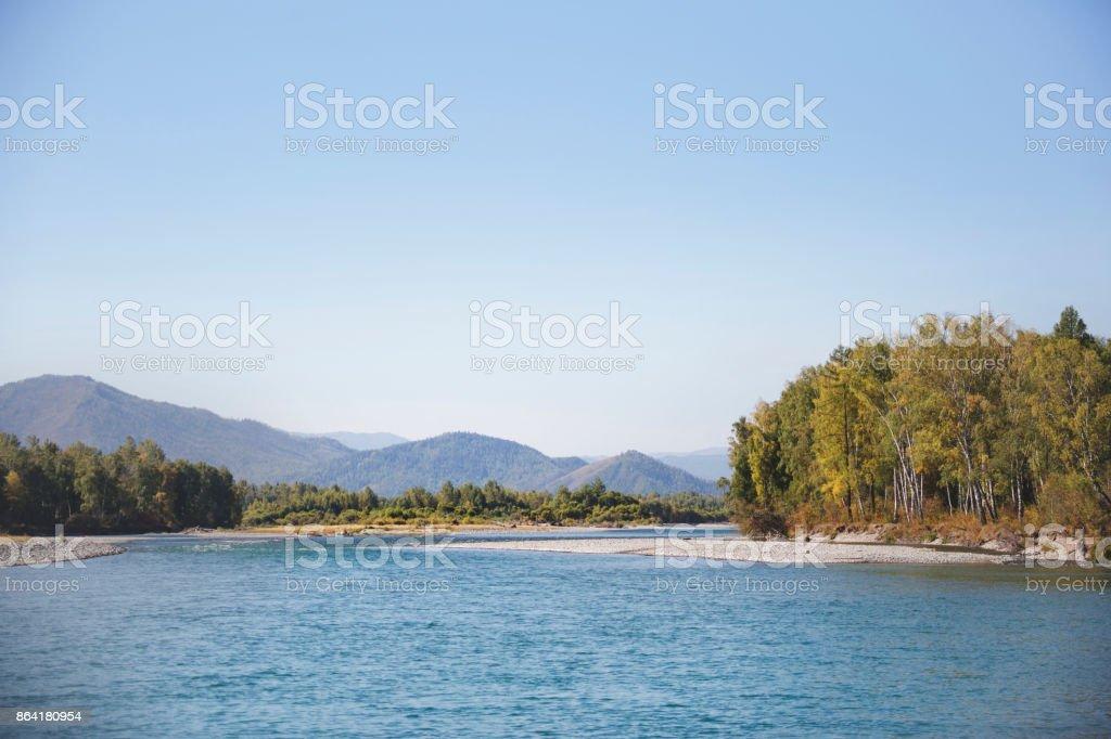 Katun river. Altai autumn landscape royalty-free stock photo