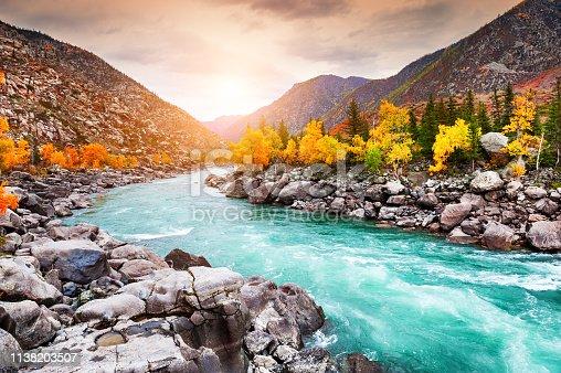 istock Katun river in autumn mountains at sunset. Altai, Siberia, Russia 1138203507