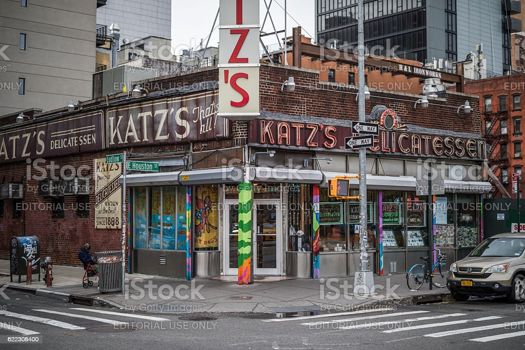 Katz Delicatessen, New York City, United States New York City, United States - September 27, 2016: Katz Delicatessen in Lower East Side, Manhattan, New York City, United States is a famous restaurant and delicatessen. Delicatessen Stock Photo