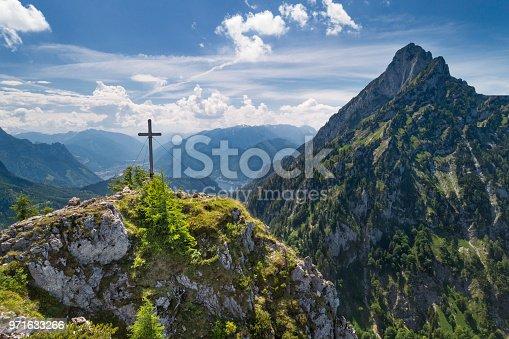 istock Katzenstein Summit Cross Gipfelkreuz with Lake Traunsee, Austria, European Alps 971633266