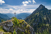 Katzenstein Summit Cross Gipfelkreuz with Lake Traunsee, Austria, European Alps
