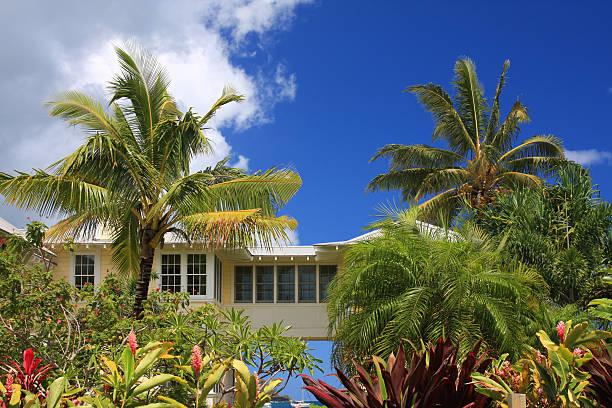 kauai hawaii  beach front resort home - hawaii home stock photos and pictures