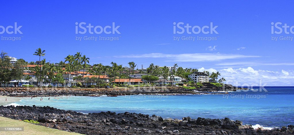 Kauai Hawaii beach front resort  panorama royalty-free stock photo