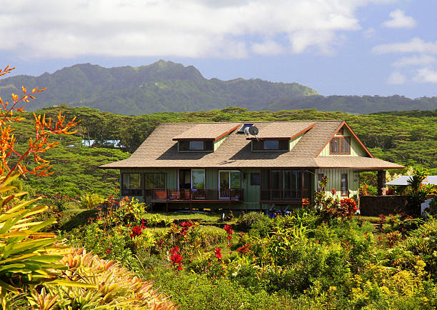 kauai hawaii hill side vacation house - hawaii home stock photos and pictures