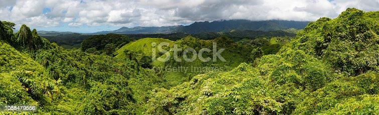 View of lush valley near the top of the Sleeping Giant Trail near Wailua on Kauai, Hawaii