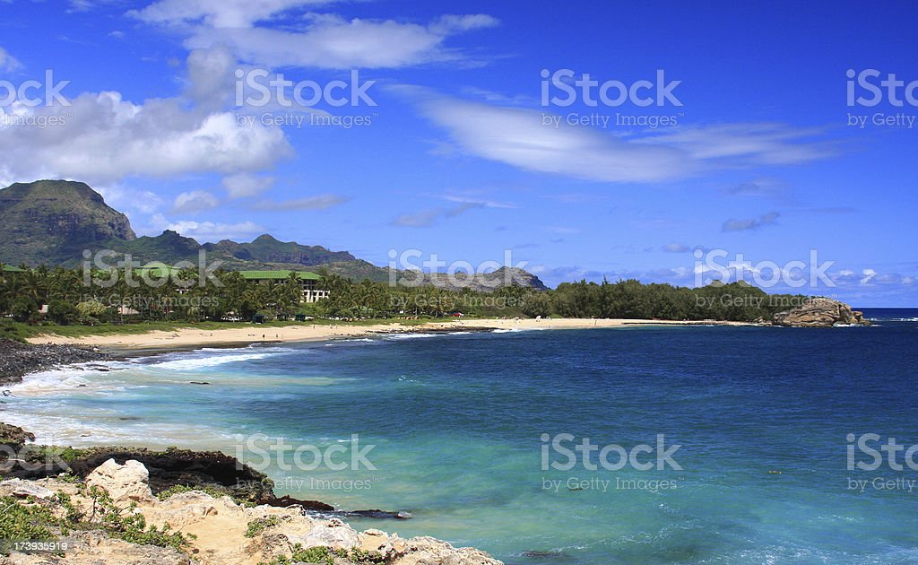 Kauai Hawaii tropical style turquoise Pacific Ocean beach scenic royalty-free stock photo