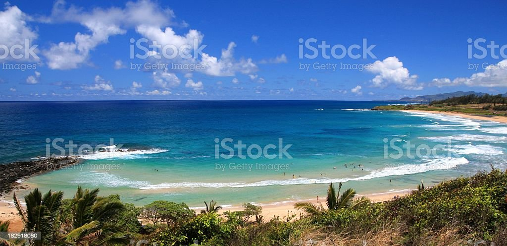 Kauai Hawaii turquoise sea surf beach tropical style scenic stock photo