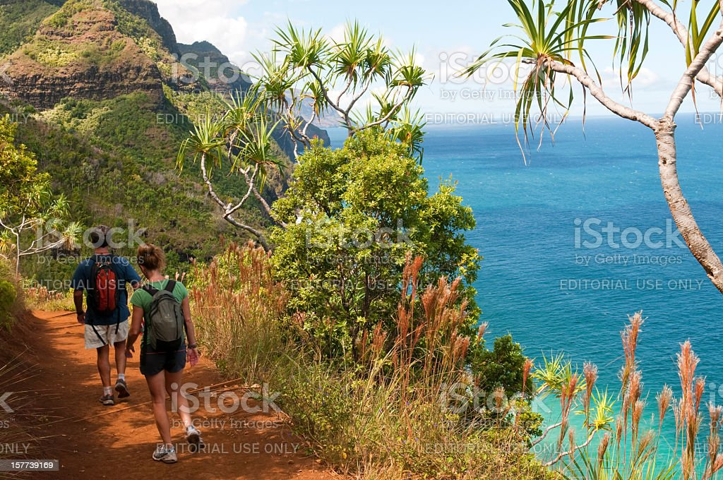 Kauai vacation and Kalalau Trail stock photo
