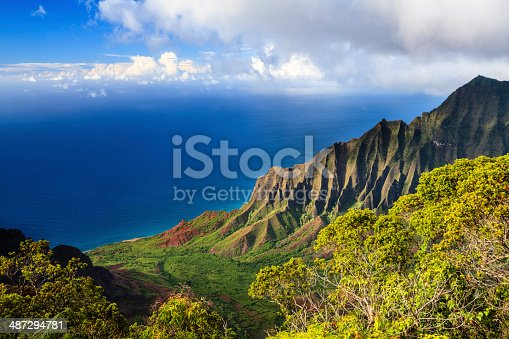 View of the Kalalau Valley and the Na Pali Coast from Kokee State Park, on the Hawaiian island of Kauai.