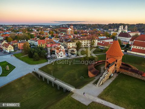 Kaunas, Lithuania: aerial top view of old town and castle in the autumn