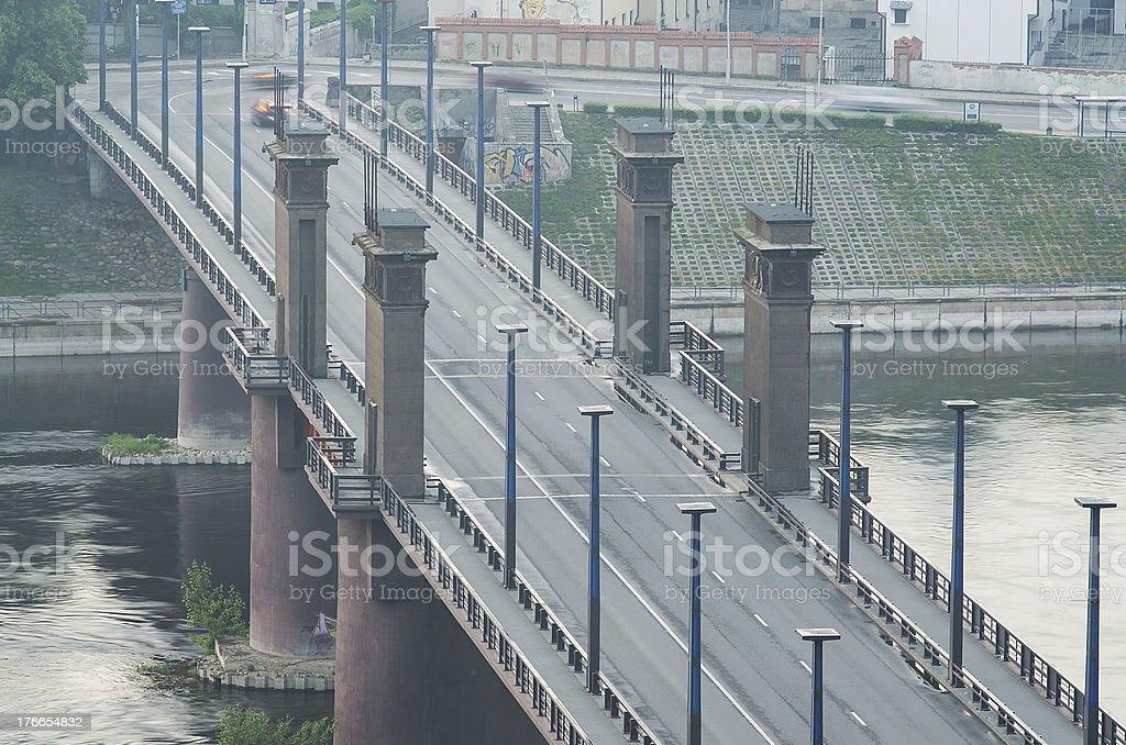 Kaunas, Lithuania. Vytautas the Great (Aleksotas) Bridge infog royalty-free stock photo