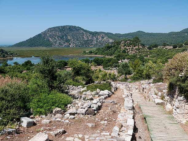 Kaunos ruins, Dalyan, Turkey Ruins of the ancient  city of Kaunos in Dalyan, Turkey 4th century bc stock pictures, royalty-free photos & images