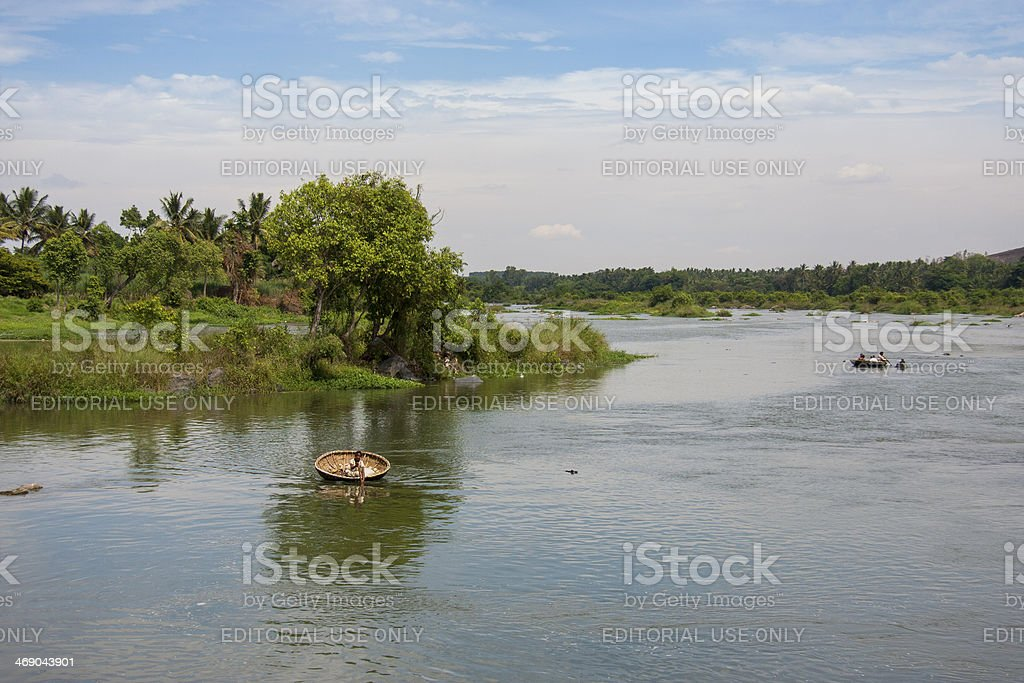 Kaveri river in India with lush riverside stock photo
