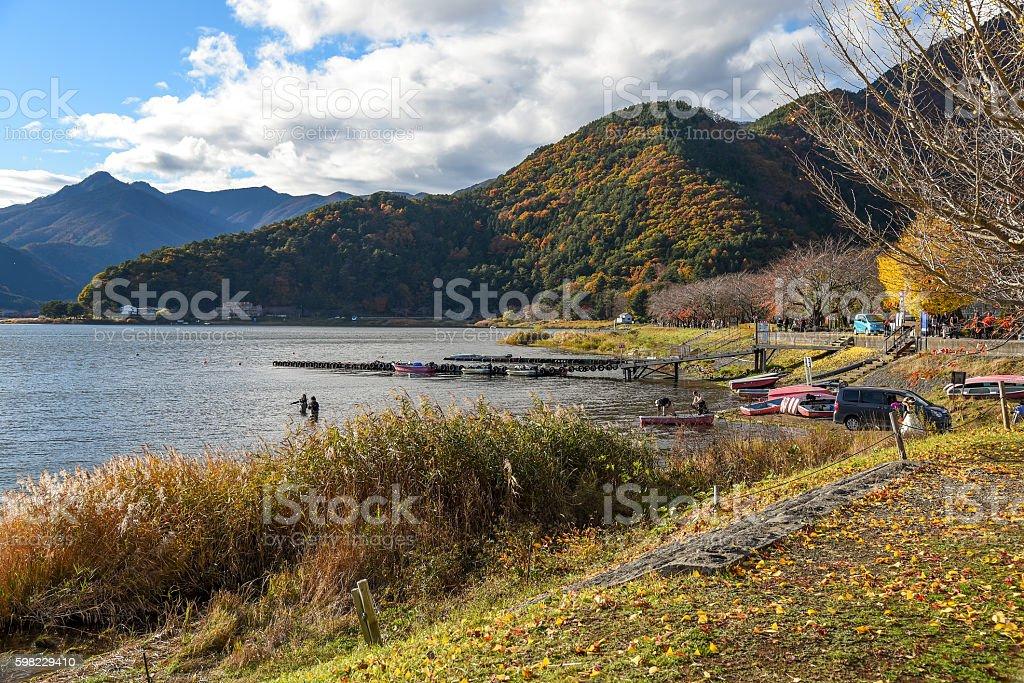 Kawaguchi lake landscape in autumn foto royalty-free