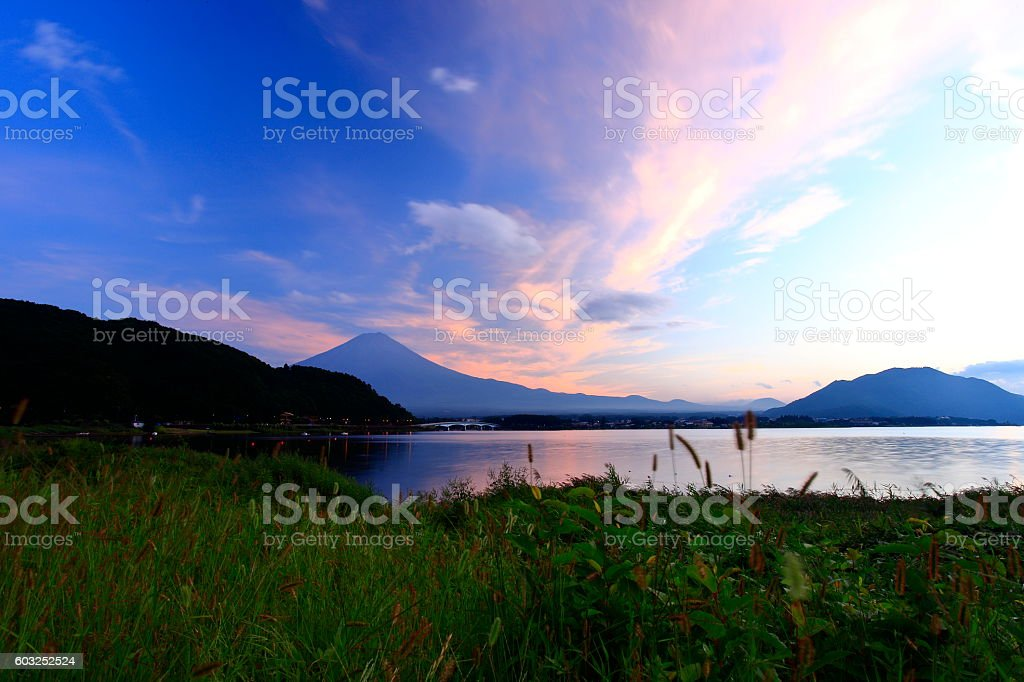 Kawaguchi lake of Mount Fuji stock photo