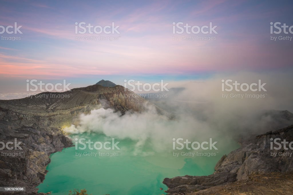 Kawah Ijen crater, Banyuwangi, Indonesia Banyuwangi, Indonesia - August 12, 2018: Banyuwangi  view showing Kawah Ijen crater volcano 2010-2019 Stock Photo
