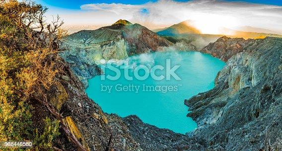 istock Kawah Ijen volcano with trees, panorama, beautiful sunrise in Java, Indonesia 968446580