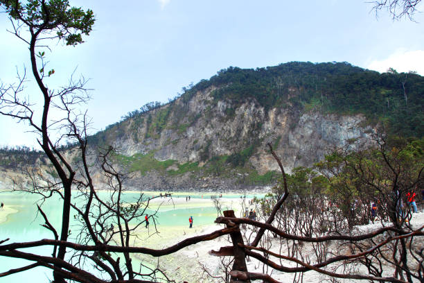 lago de kawah putih - kawah putih fotografías e imágenes de stock