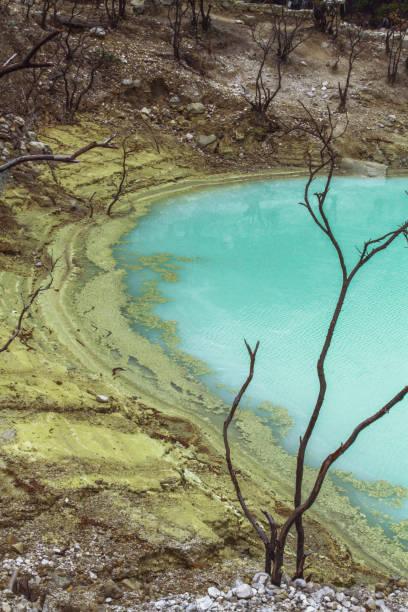 lago de cráter volcánico sulfuroso kawah putih - kawah putih fotografías e imágenes de stock
