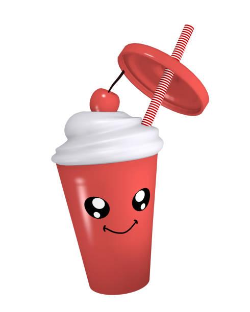 Kawaii Kirschmilchschlag mit lächelndem Gesicht. – Foto