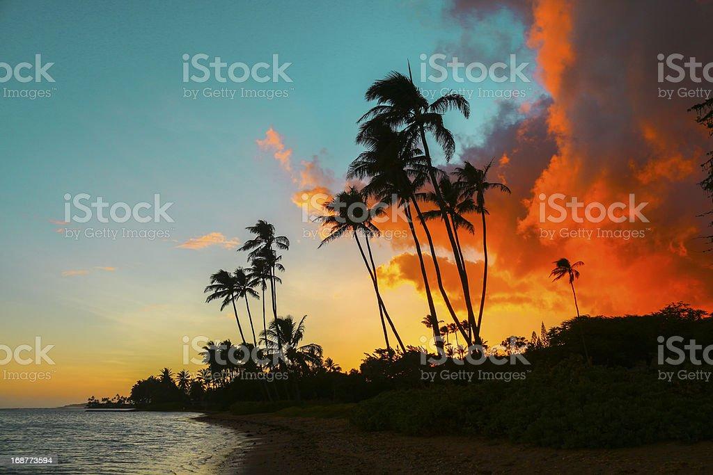Kawaikui Sunset stock photo