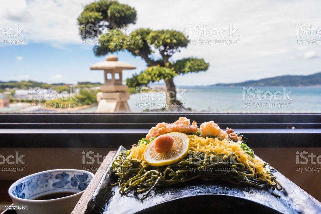 Kawara Soba, Roof Tile Noodle Dish of Yamaguchi, Japan; Outdoor Background Scene stock photo
