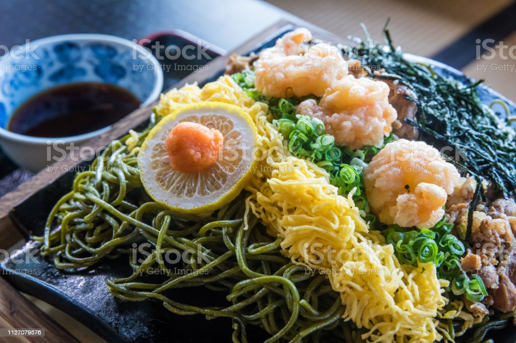 Kawara Soba, Roof Tile Noodle Dish of Yamaguchi, Japan stock photo