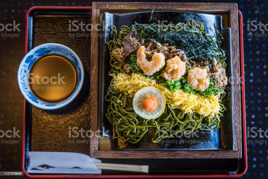 Kawara Soba, Roof Tile Noodle Dish of Yamaguchi, Japan; Top View stock photo