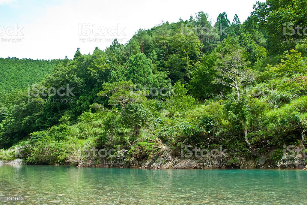 Kawayu Onsen river and outdoor hot spring baths - Japan stock photo