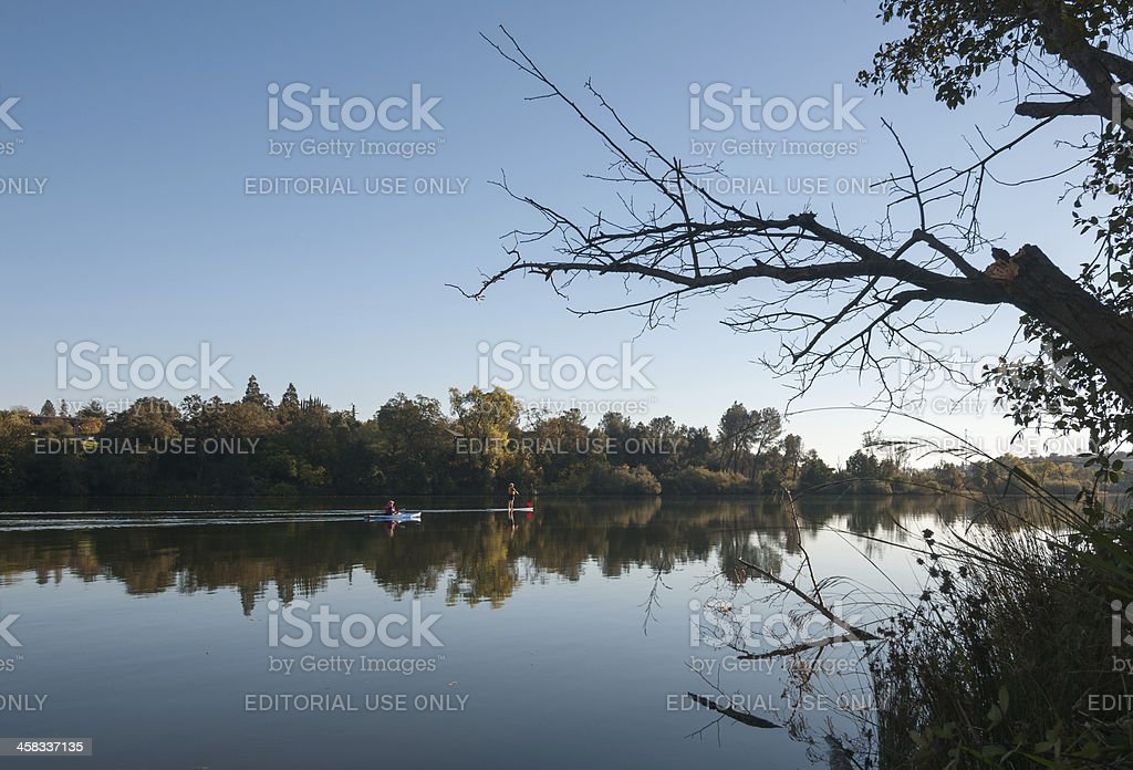 Kayak And Stand-up Paddle on the River royalty-free stock photo