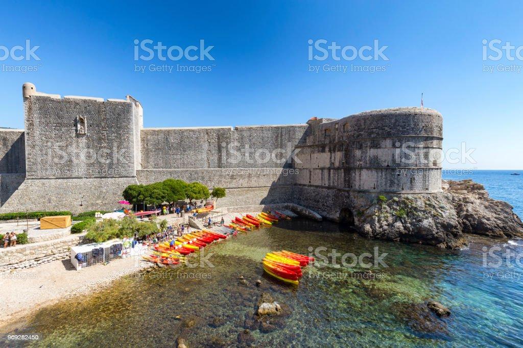 Kayak and Wall stock photo
