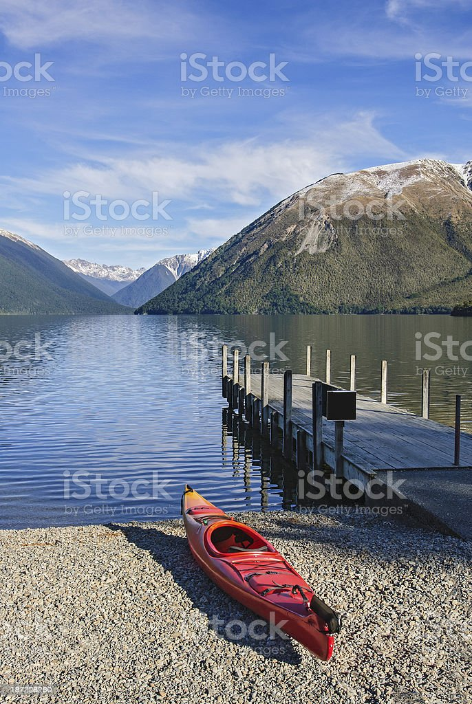 Kayak at Nelson Lakes National Park New Zealand stock photo