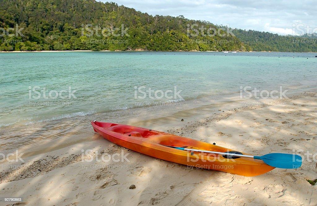 Kayak at Sunny Borneo Beach royalty-free stock photo