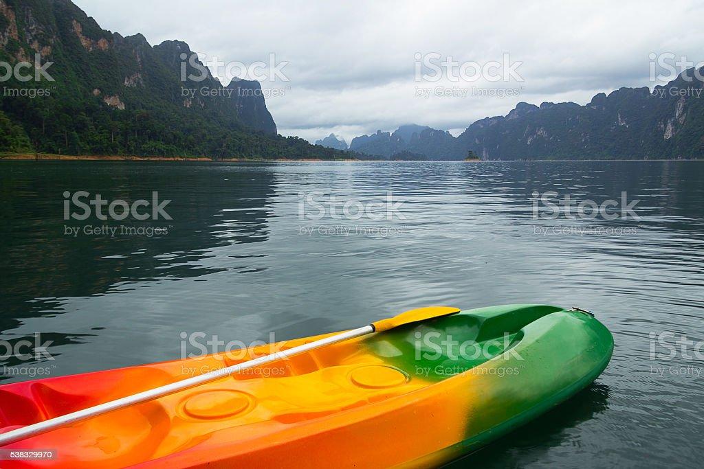 kayak boat in the lake stock photo