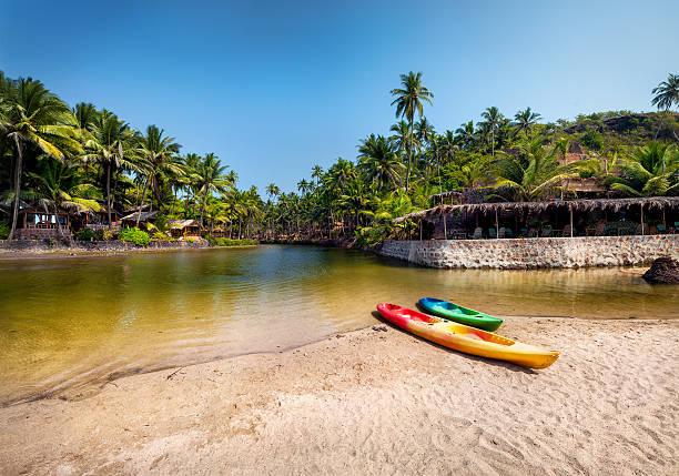 Kayak boats at Goa beach stock photo