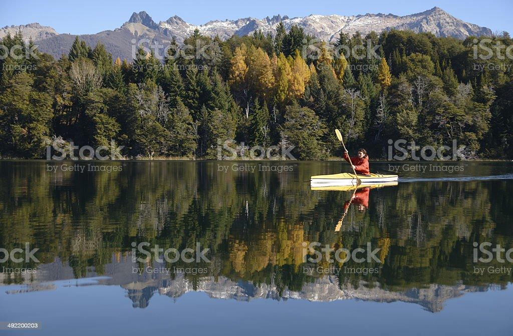 Kayak de Travesia en Patagonia stock photo