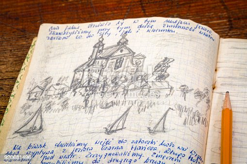Kayak expedition journal - handwriting and drawing in pencil. Travel log from paddling trip across north eastern Poland written by me, photographer, in August 1974.