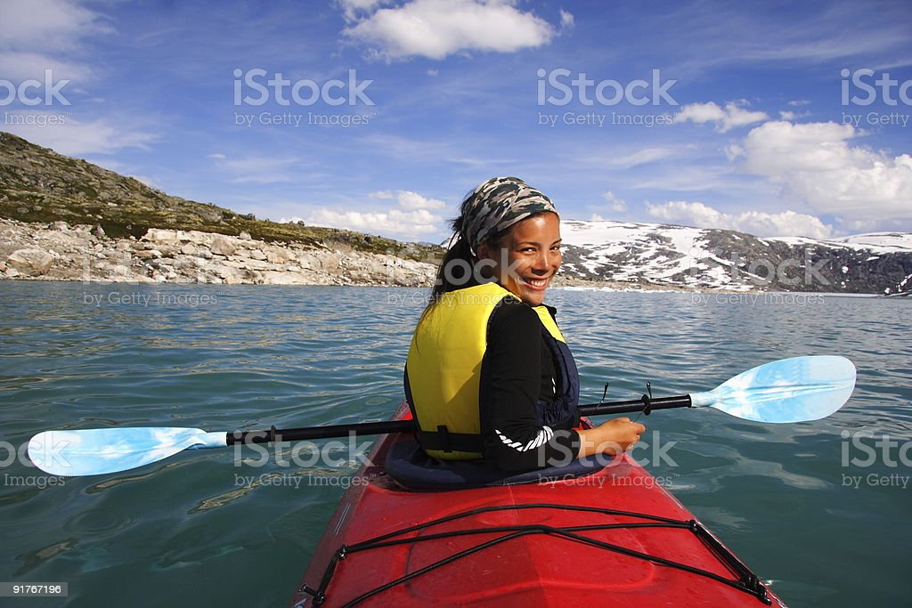 Kayak Girl stock photo