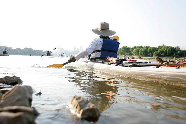 Kayak heading out stock photo