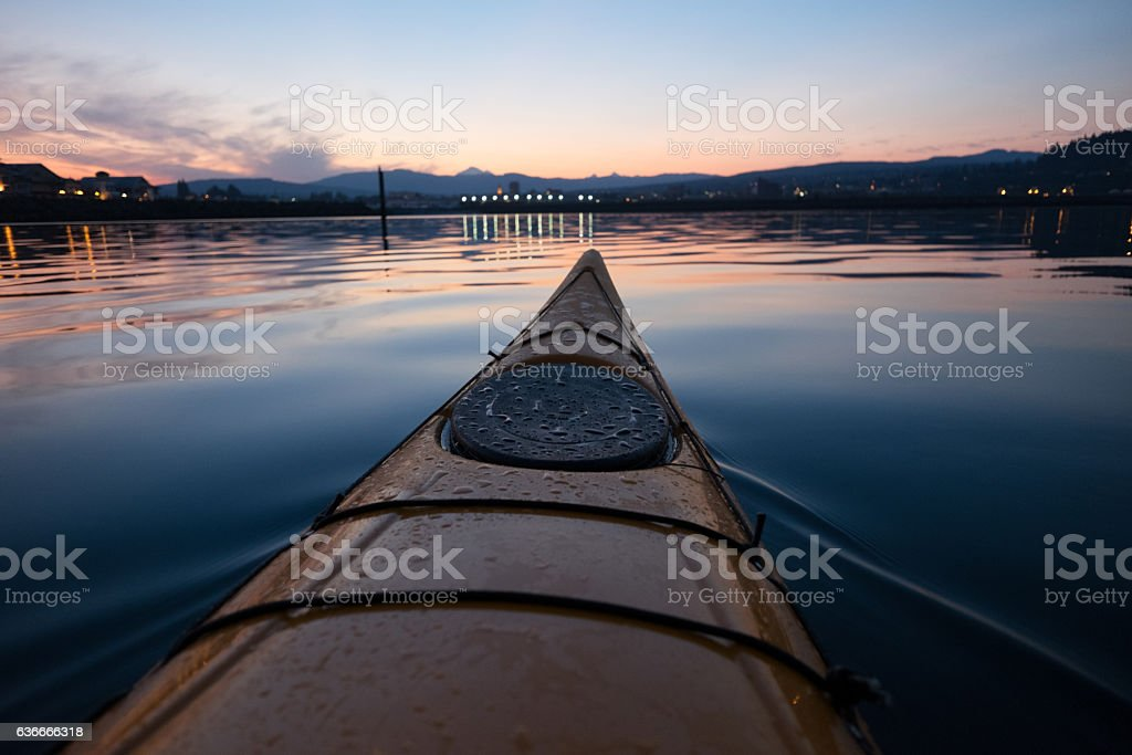 Kayak in Bellingham Bay stock photo
