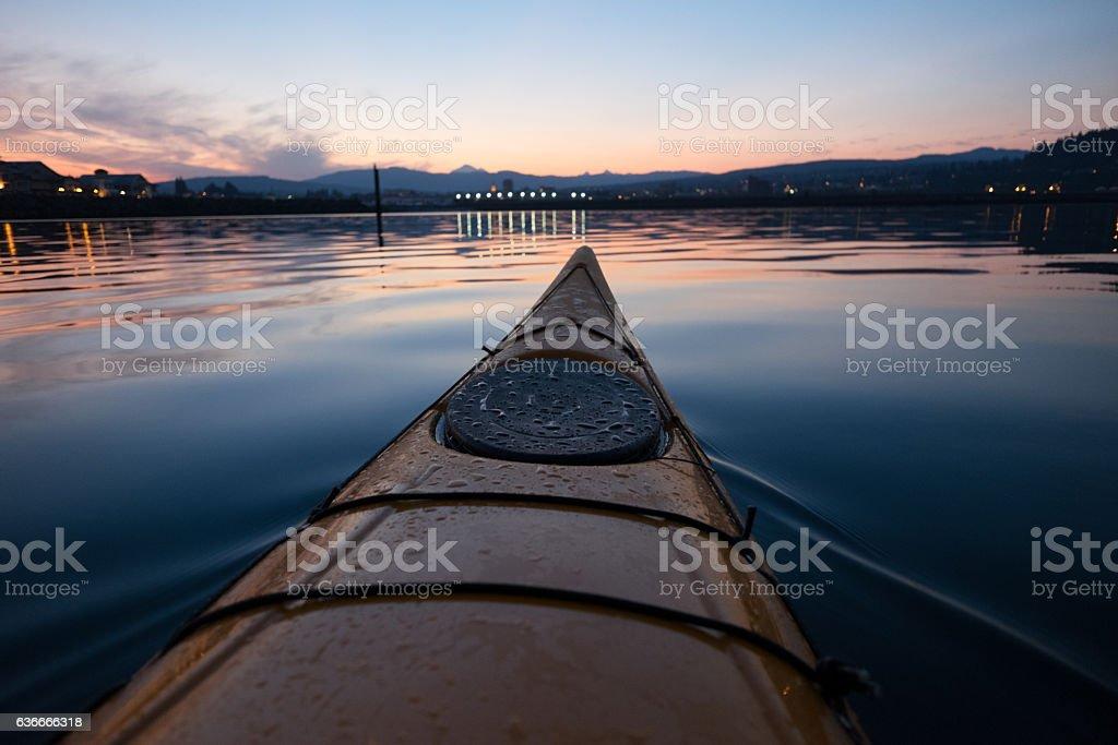 Kayak in Bellingham Bay stock photo