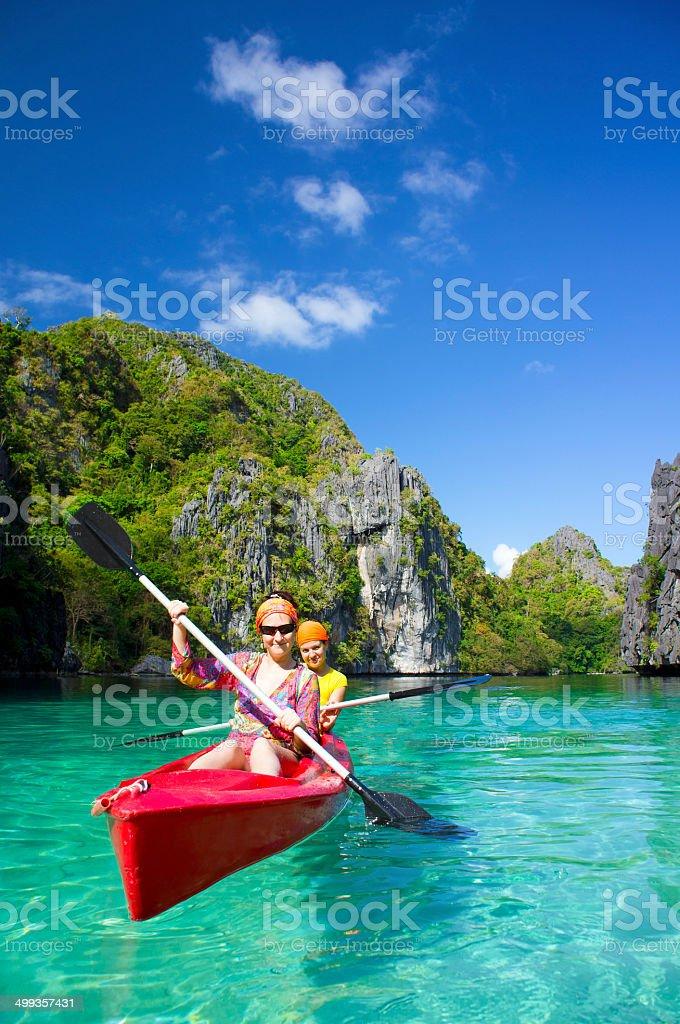 Kayak in the Lagoon stock photo