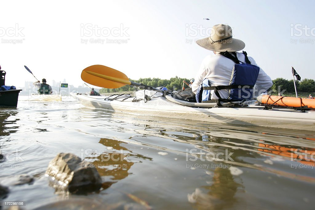 Kayak in the river royalty-free stock photo