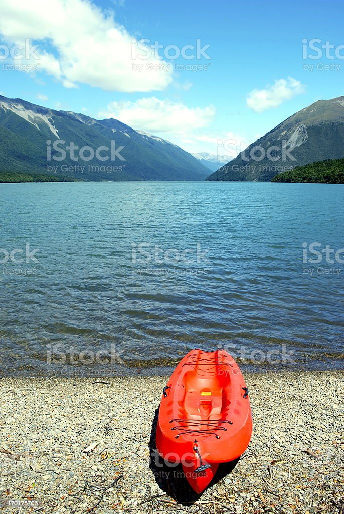 Kayak, Lake Rotoiti, Nelson Lakes National Park, NZ stock photo