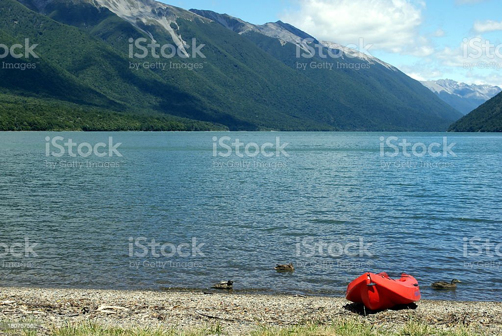 Kayak, Lake Rotoiti, Nelson Lakes National Park, NZ royalty-free stock photo