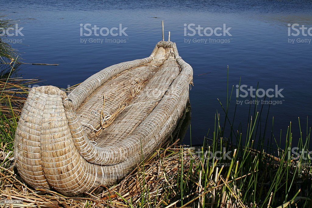 Kayak made from reed stock photo