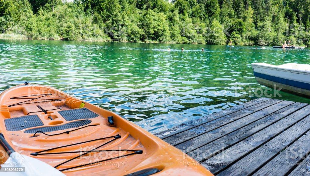 kayak on crestasee lake ready to use stock photo