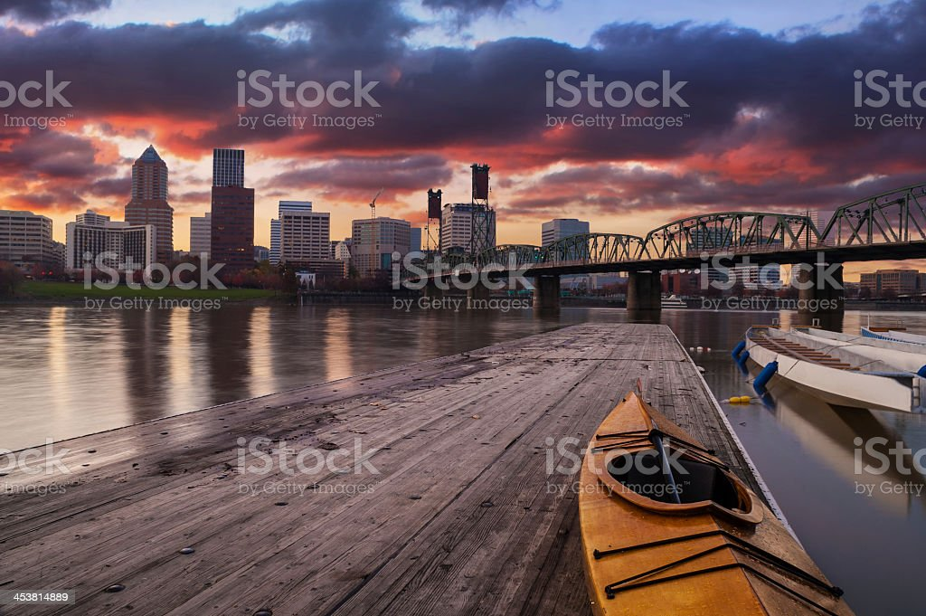 Kayak on deck with Portland Oregon USA cityscape in rear stock photo